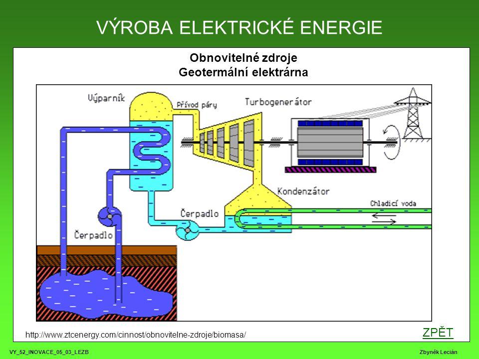 VY_52_INOVACE_05_03_LEZB Zbyněk Lecián VÝROBA ELEKTRICKÉ ENERGIE http://www.ztcenergy.com/cinnost/obnovitelne-zdroje/biomasa/ ZPĚT Obnovitelné zdroje