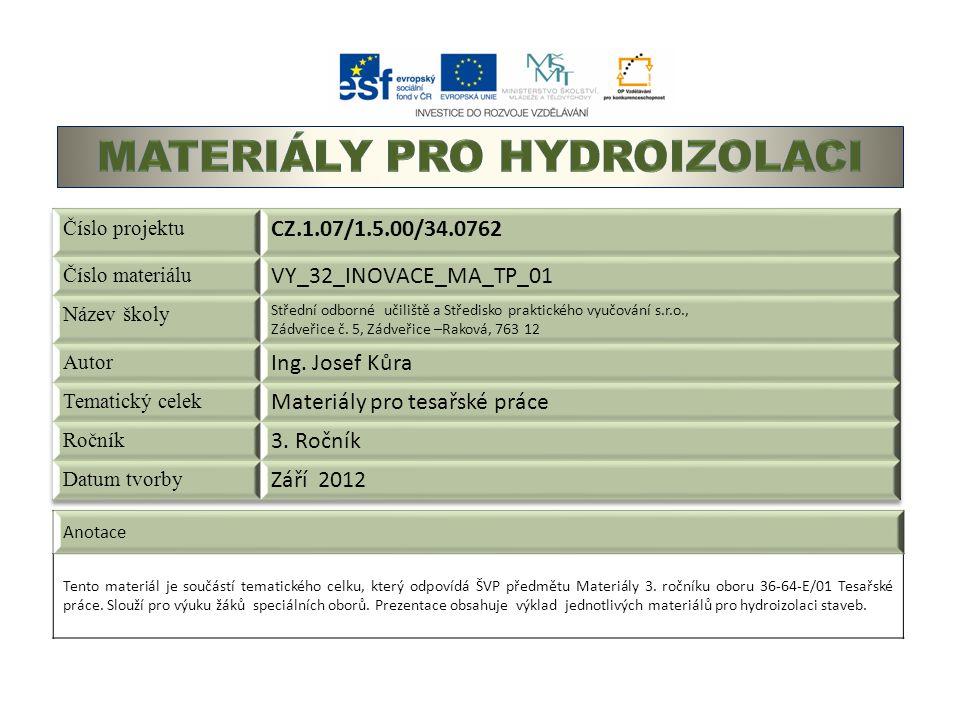 Anotace Tento materiál je součástí tematického celku, který odpovídá ŠVP předmětu Materiály 3.