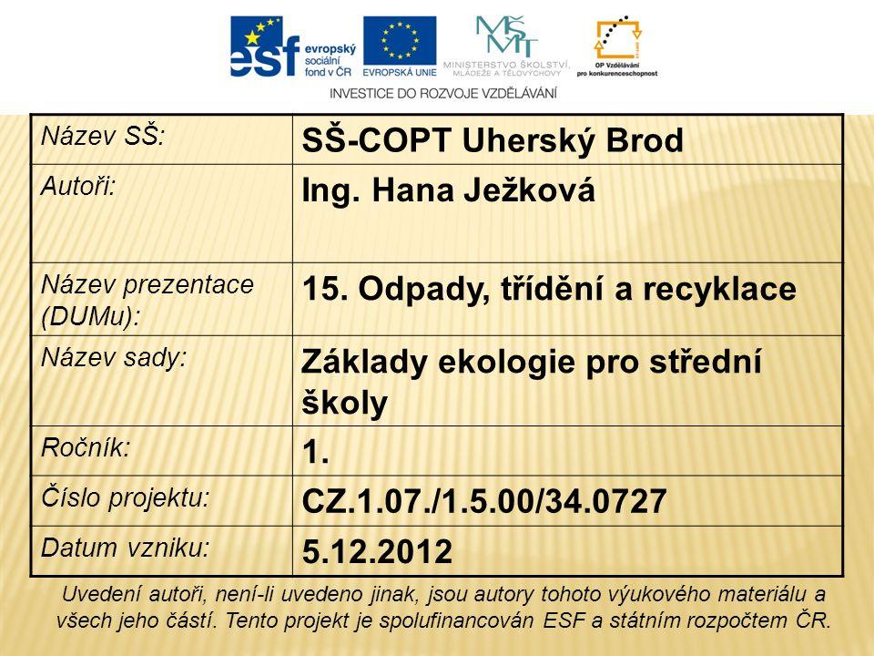 Název SŠ: SŠ-COPT Uherský Brod Autoři: Ing. Hana Ježková Název prezentace (DUMu): 15.