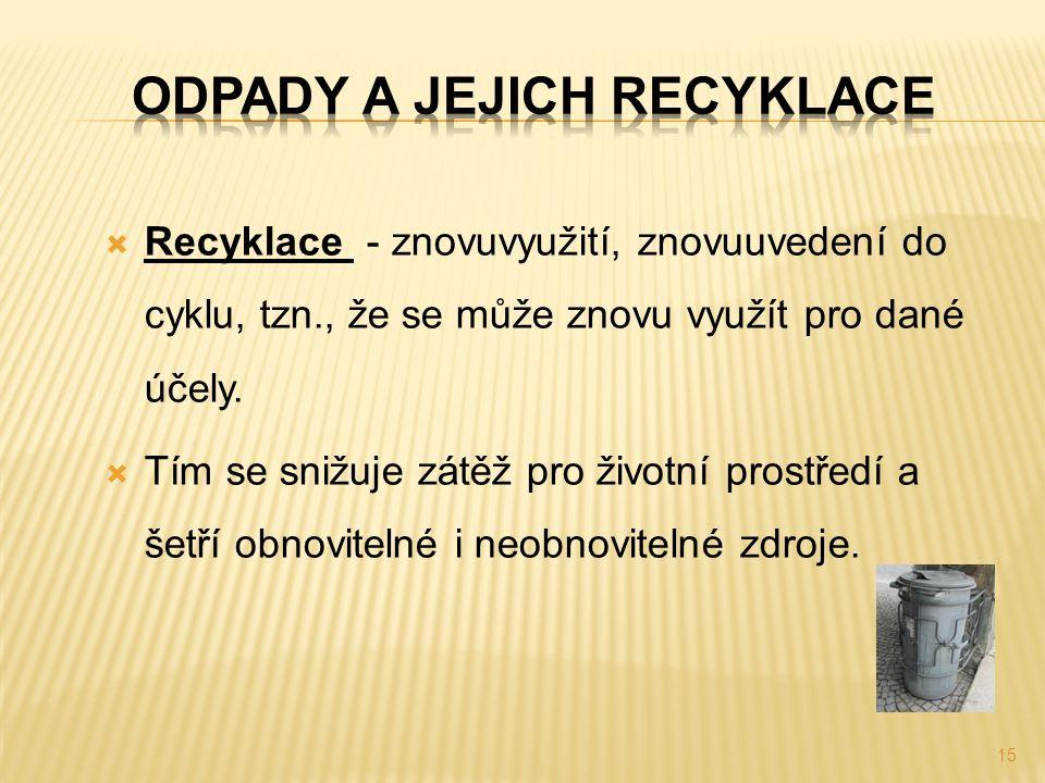  Recyklace - znovuvyužití, znovuuvedení do cyklu, tzn., že se může znovu využít pro dané účely.  Tím se snižuje zátěž pro životní prostředí a šetří