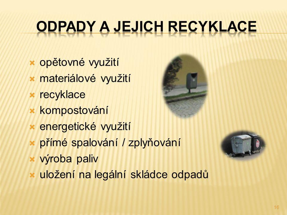  opětovné využití  materiálové využití  recyklace  kompostování  energetické využití  přímé spalování / zplyňování  výroba paliv  uložení na legální skládce odpadů 16