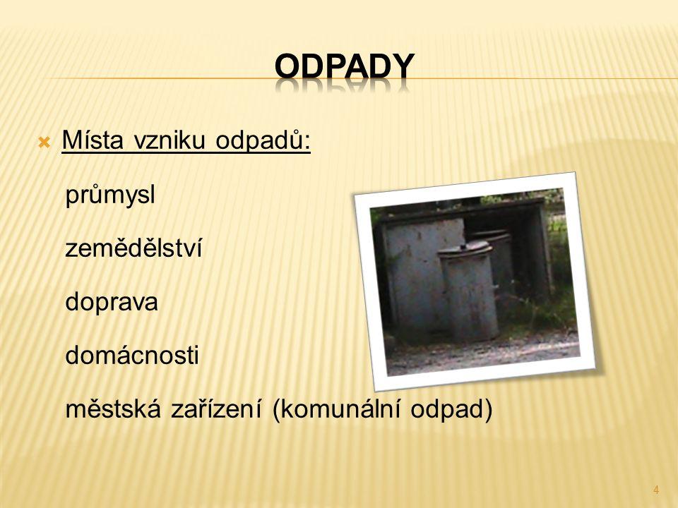  Místa vzniku odpadů: průmysl zemědělství doprava domácnosti městská zařízení (komunální odpad) 4