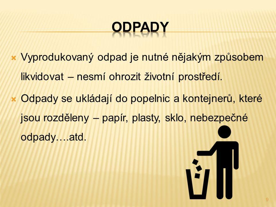  Vyprodukovaný odpad je nutné nějakým způsobem likvidovat – nesmí ohrozit životní prostředí.  Odpady se ukládají do popelnic a kontejnerů, které jso