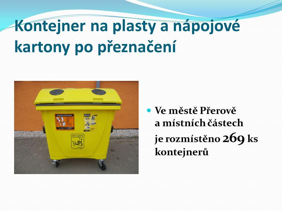 Kontejner na plasty a nápojové kartony po přeznačení Ve městě Přerově a místních částech je rozmístěno 269 ks kontejnerů