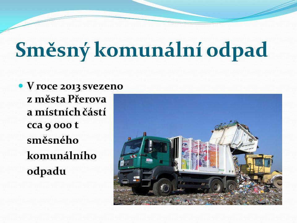 Směsný komunální odpad V roce 2013 svezeno z města Přerova a místních částí cca 9 000 t směsného komunálního odpadu