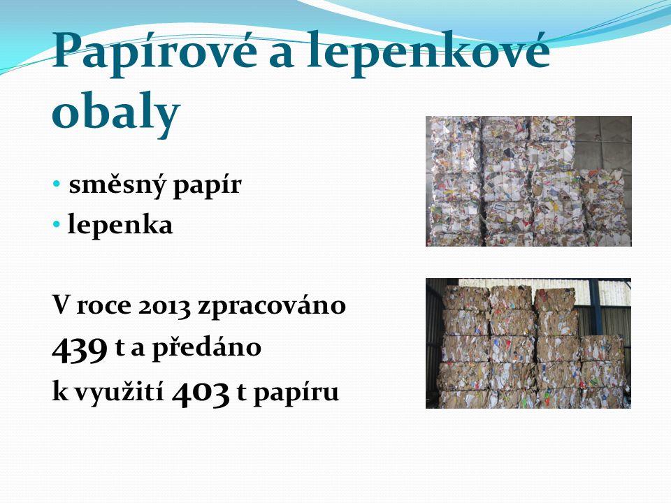 Papírové a lepenkové obaly směsný papír lepenka V roce 2013 zpracováno 439 t a předáno k využití 403 t papíru