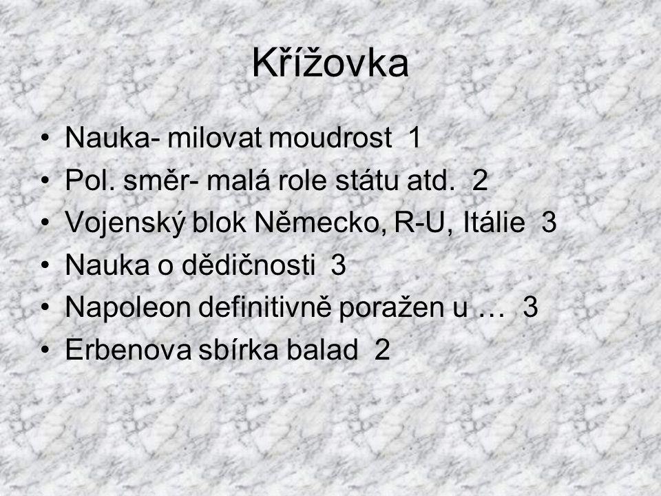 Křížovka Nauka- milovat moudrost 1 Pol. směr- malá role státu atd.