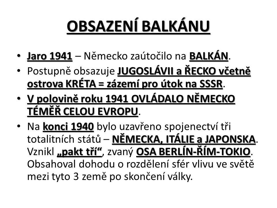 OBSAZENÍ BALKÁNU Jaro 1941BALKÁN Jaro 1941 – Německo zaútočilo na BALKÁN.