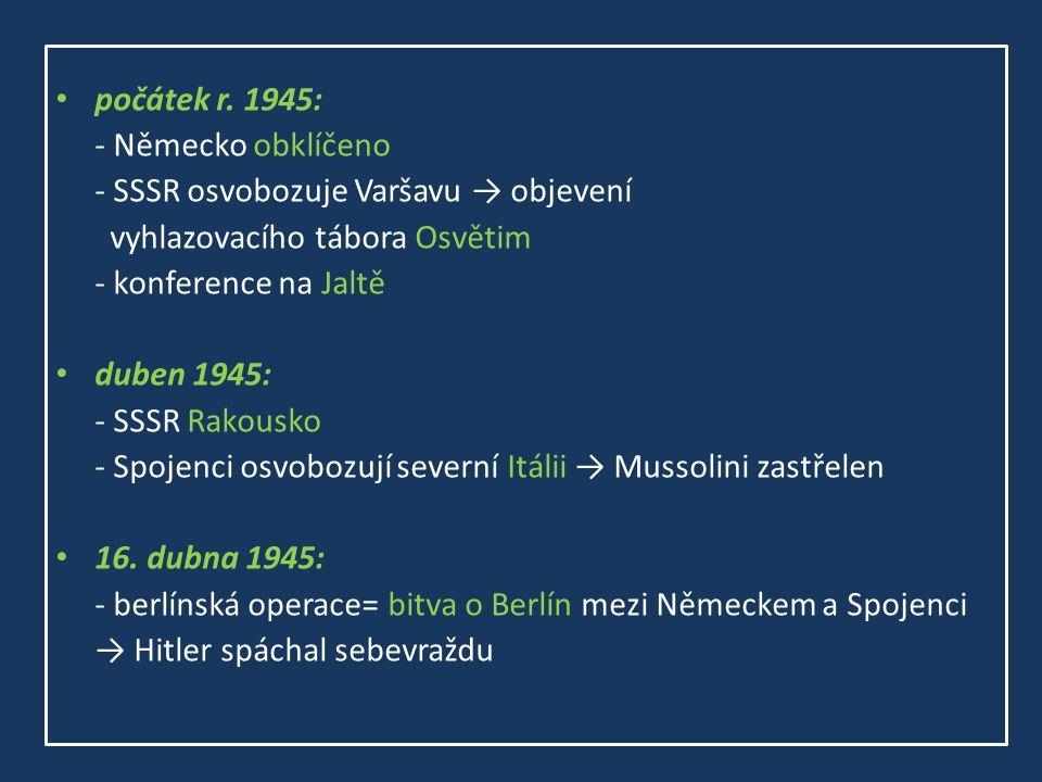 počátek r. 1945: - Německo obklíčeno - SSSR osvobozuje Varšavu → objevení vyhlazovacího tábora Osvětim - konference na Jaltě duben 1945: - SSSR Rakous
