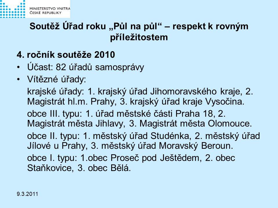 """9.3.2011 Soutěž Úřad roku """"Půl na půl – respekt k rovným příležitostem 4."""