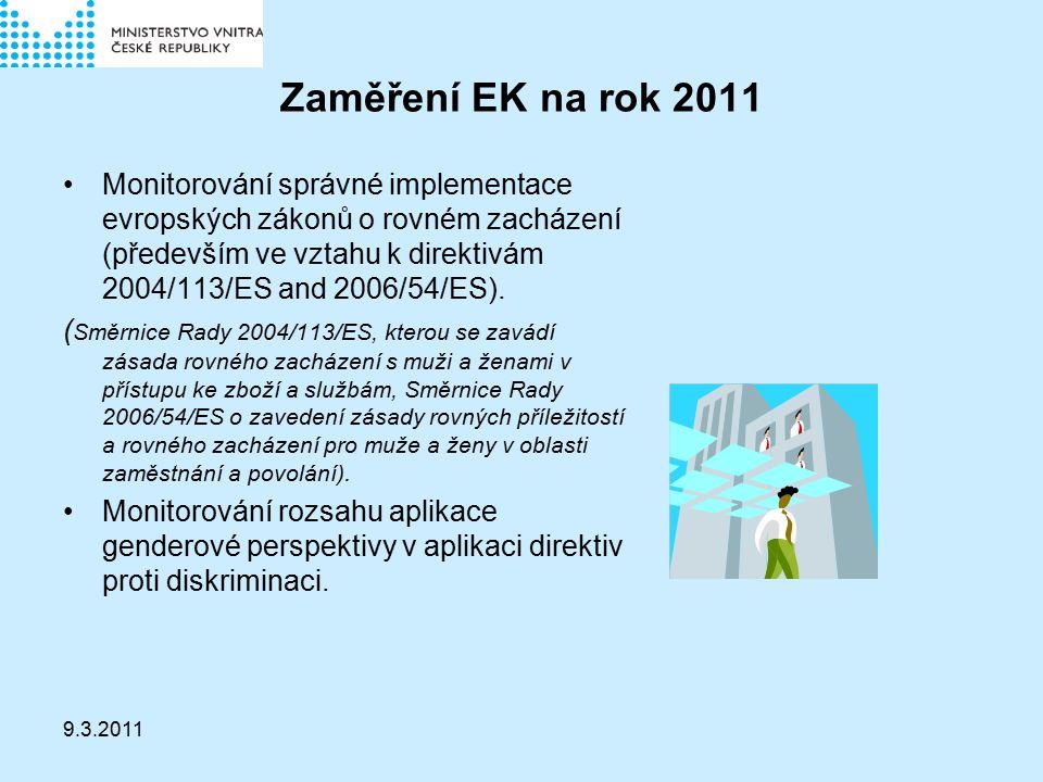 9.3.2011 Zaměření EK na rok 2011 Monitorování správné implementace evropských zákonů o rovném zacházení (především ve vztahu k direktivám 2004/113/ES and 2006/54/ES).