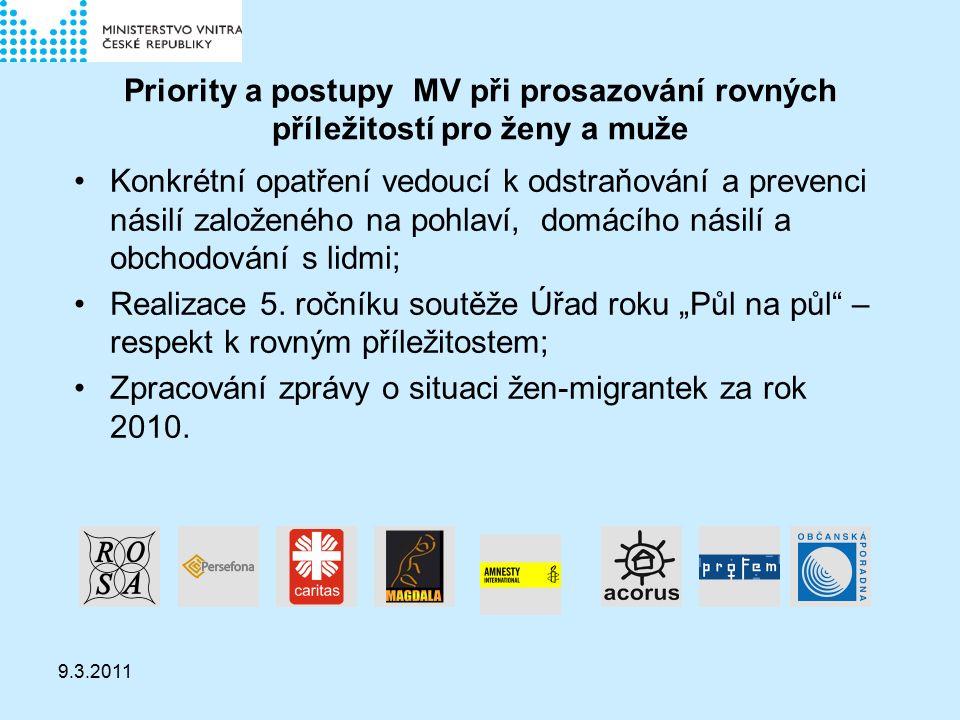 9.3.2011 Priority a postupy MV při prosazování rovných příležitostí pro ženy a muže Konkrétní opatření vedoucí k odstraňování a prevenci násilí založeného na pohlaví, domácího násilí a obchodování s lidmi; Realizace 5.