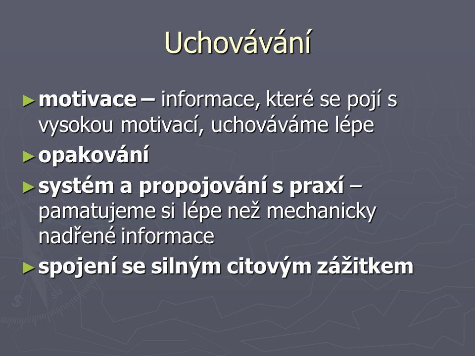 Uchovávání ► motivace – informace, které se pojí s vysokou motivací, uchováváme lépe ► opakování ► systém a propojování s praxí – pamatujeme si lépe n