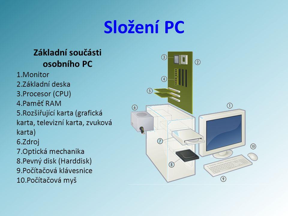 Složení PC Základní součásti osobního PC 1.Monitor 2.Základní deska 3.Procesor (CPU) 4.Paměť RAM 5.Rozšiřující karta (grafická karta, televizní karta, zvuková karta) 6.Zdroj 7.Optická mechanika 8.Pevný disk (Harddisk) 9.Počítačová klávesnice 10.Počítačová myš