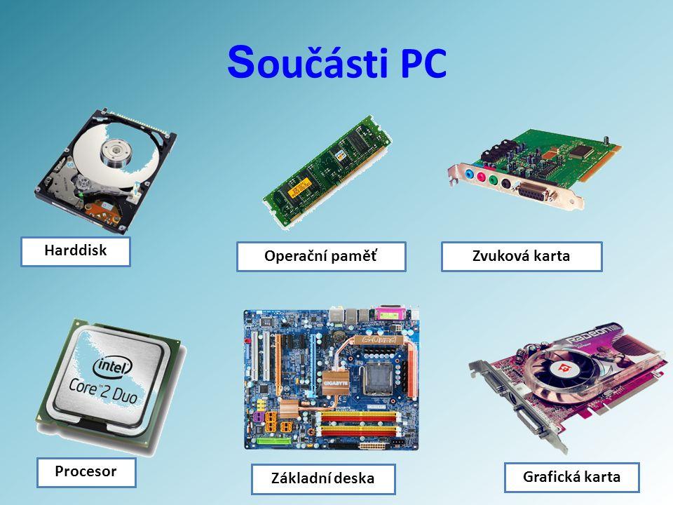 S oučásti PC Harddisk Operační paměťZvuková karta Procesor Základní deska Grafická karta