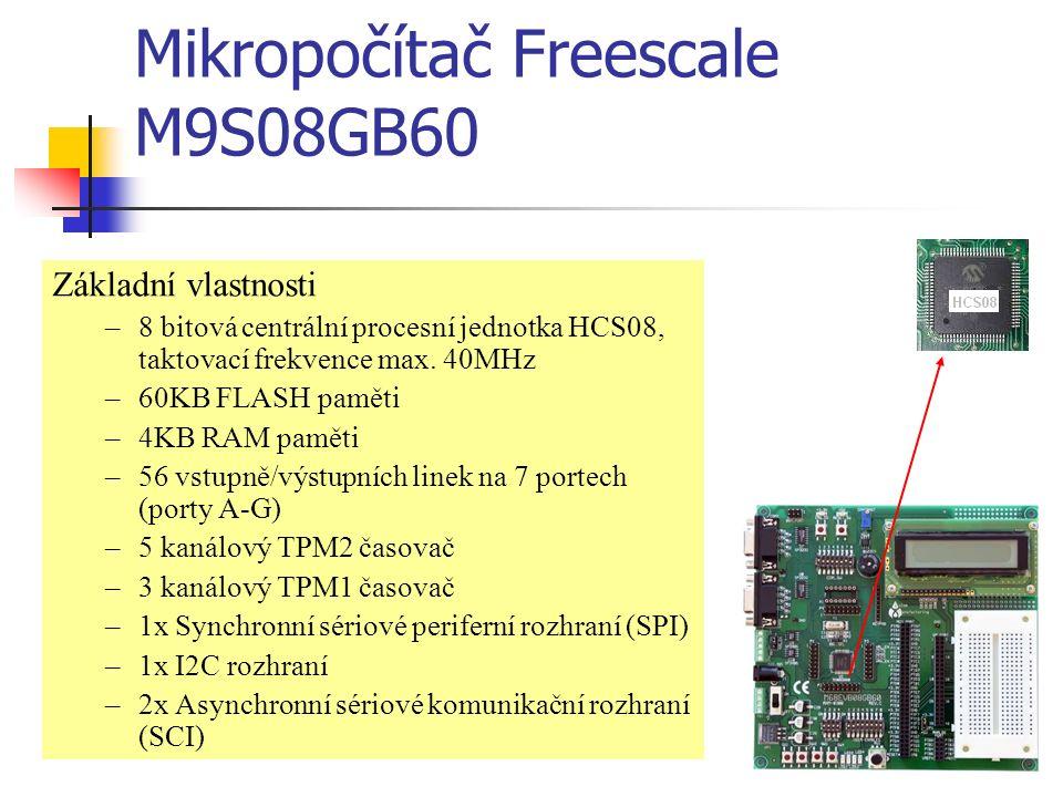 Mikropočítač Freescale M9S08GB60 Základní vlastnosti –8 bitová centrální procesní jednotka HCS08, taktovací frekvence max.