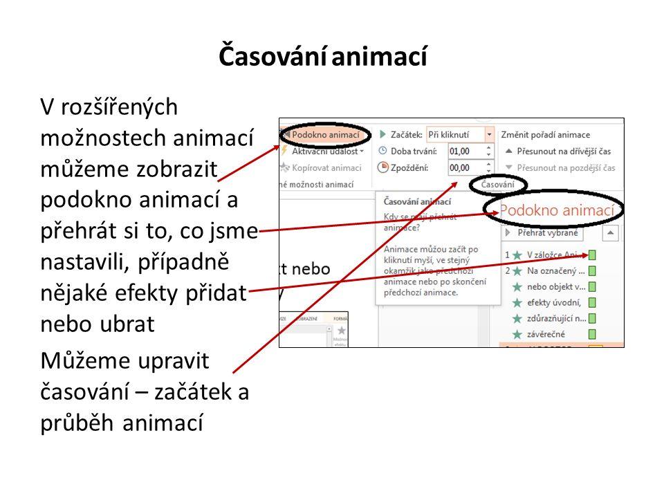 Animace V záložce Animace je možné nastavit pro text nebo objekty různé grafické animace, efekty a jejich možnosti Na označený text nebo objekt vybereme efekty úvodní, zdůrazňující nebo závěrečné ALE POZOR, NIC SE NEMÁ PŘEHÁNĚT!