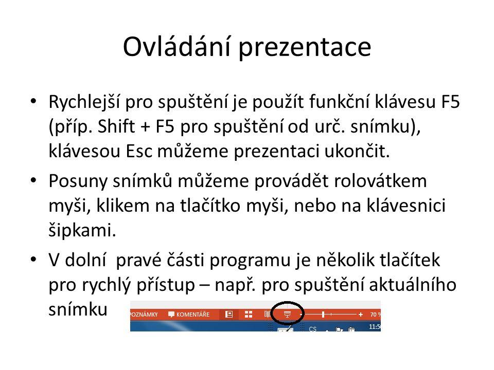 Spuštění prezentace Pro start prezentace využijeme záložku Prezentace, kde si můžeme předem vyzkoušet i časování prezentace. Zde můžeme upravit prezen