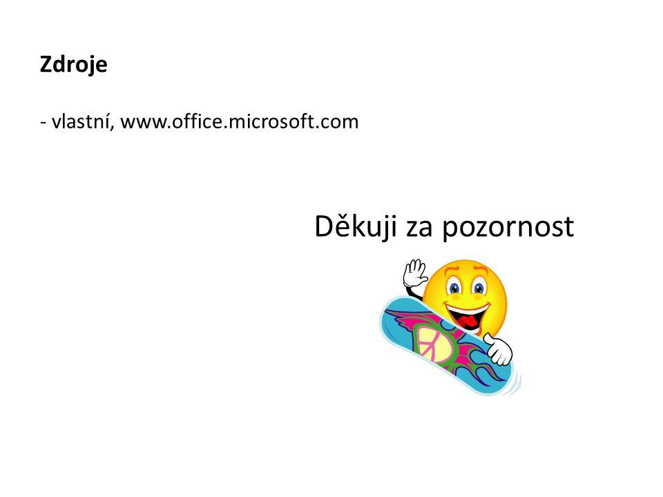 Zdroje Děkuji za pozornost - vlastní, www.office.microsoft.com