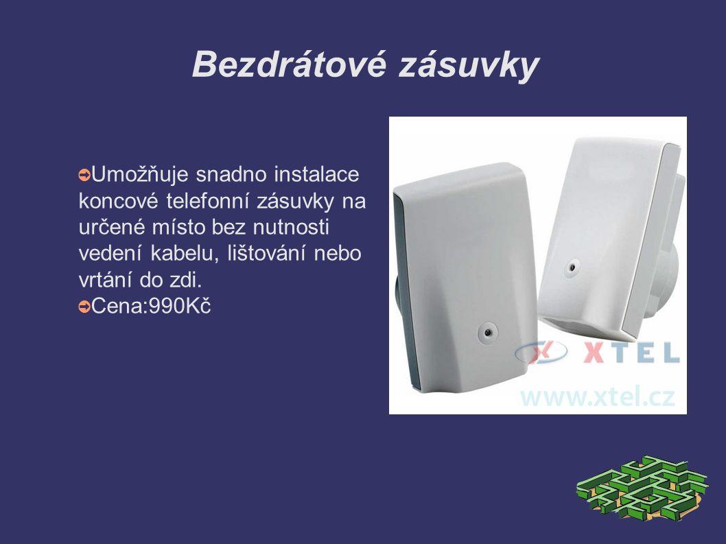 Bezdrátové zásuvky ➲ Umožňuje snadno instalace koncové telefonní zásuvky na určené místo bez nutnosti vedení kabelu, lištování nebo vrtání do zdi.