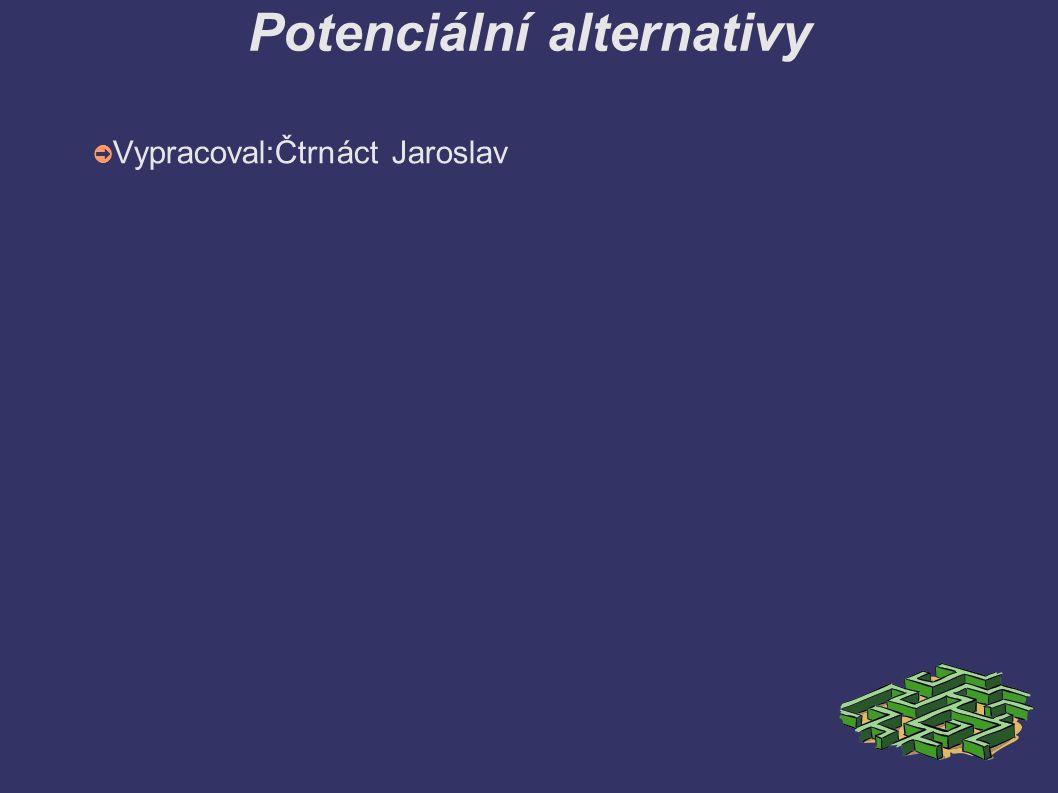 Potenciální alternativy ➲ Vypracoval:Čtrnáct Jaroslav