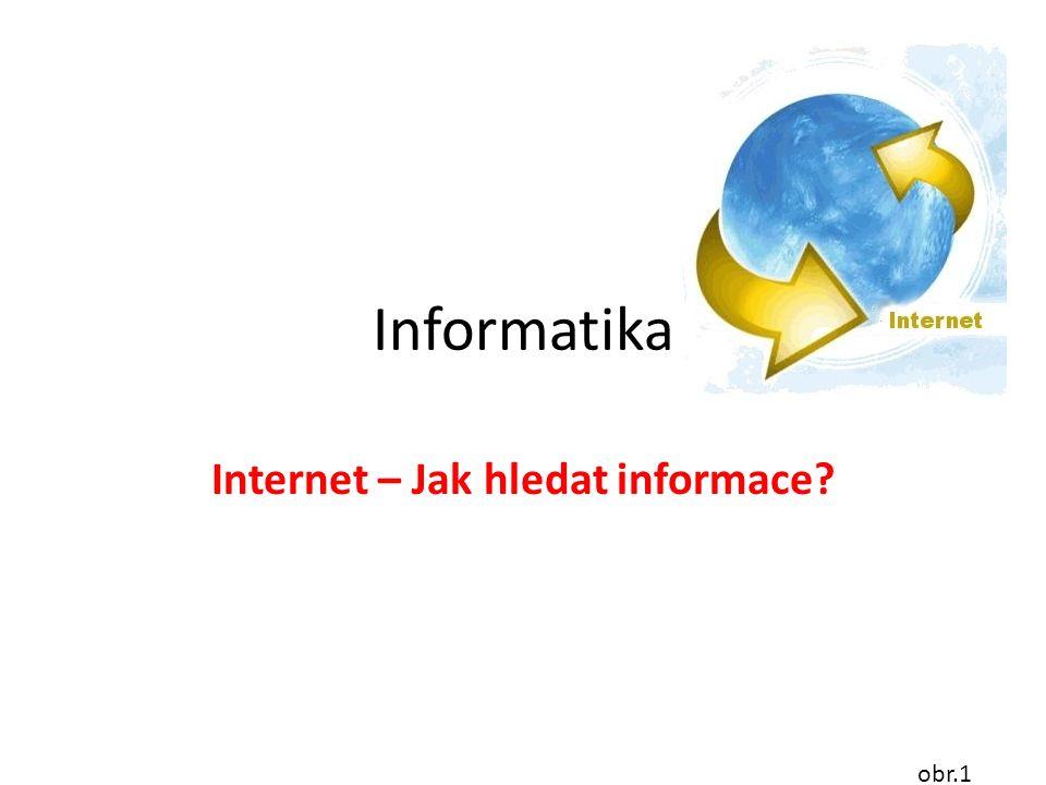 Informatika Internet – Jak hledat informace obr.1