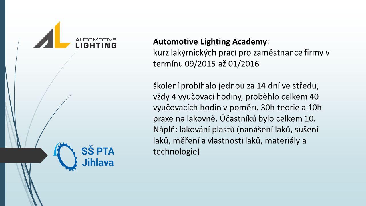 Automotive Lighting Academy: kurz lakýrnických prací pro zaměstnance firmy v termínu 09/2015 až 01/2016 školení probíhalo jednou za 14 dní ve středu, vždy 4 vyučovací hodiny, proběhlo celkem 40 vyučovacích hodin v poměru 30h teorie a 10h praxe na lakovně.