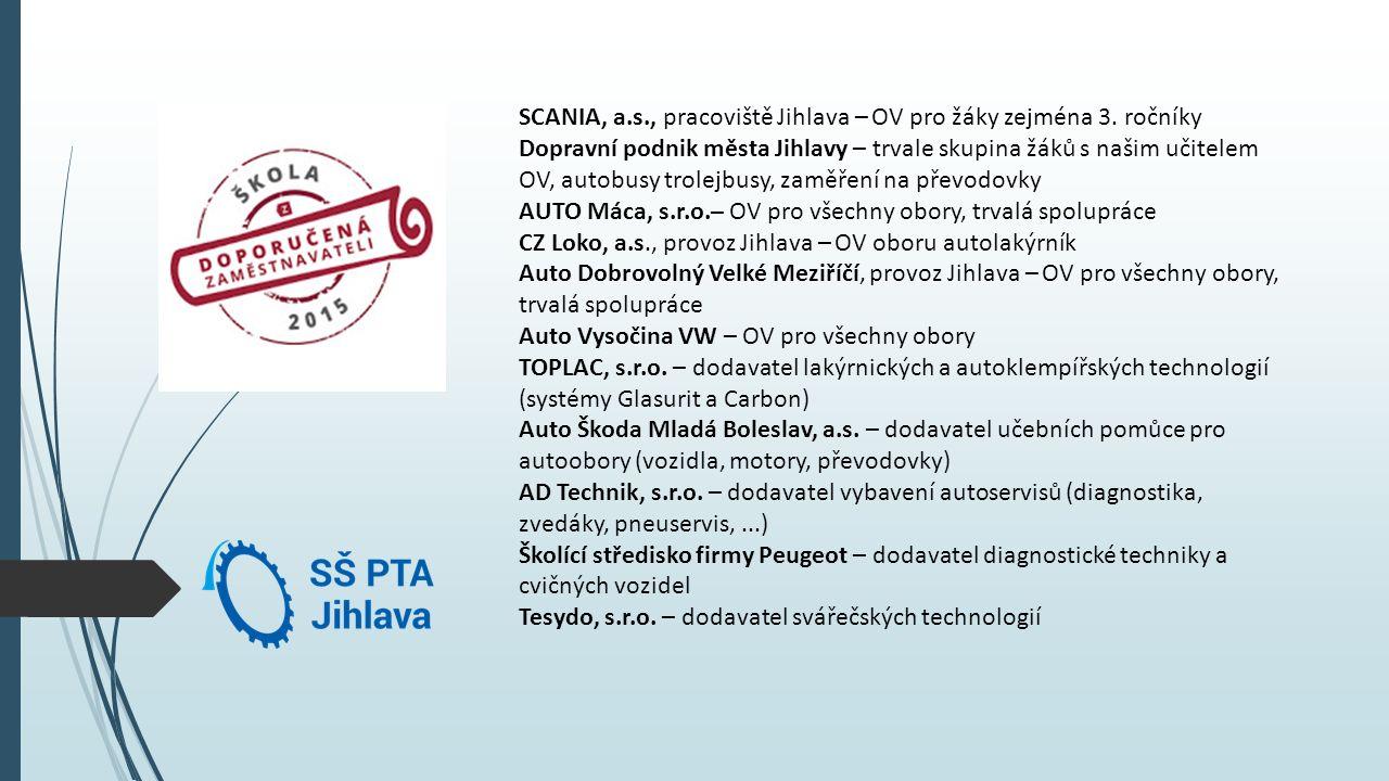 SCANIA, a.s., pracoviště Jihlava – OV pro žáky zejména 3. ročníky Dopravní podnik města Jihlavy – trvale skupina žáků s našim učitelem OV, autobusy tr
