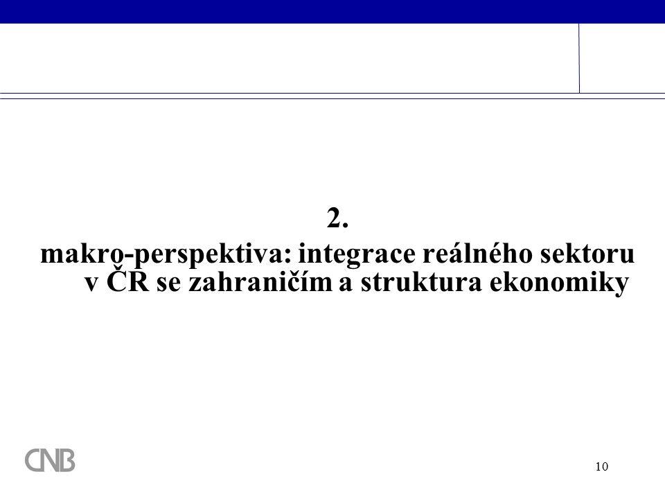 10 2. makro-perspektiva: integrace reálného sektoru v ČR se zahraničím a struktura ekonomiky
