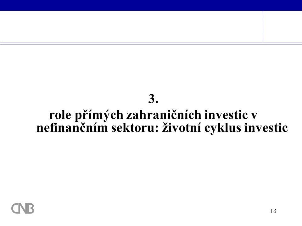 16 3. role přímých zahraničních investic v nefinančním sektoru: životní cyklus investic