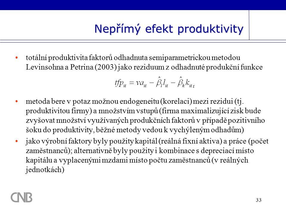 33 Nepřímý efekt produktivity totální produktivita faktorů odhadnuta semiparametrickou metodou Levinsohna a Petrina (2003) jako reziduum z odhadnuté produkční funkce metoda bere v potaz možnou endogeneitu (korelaci) mezi rezidui (tj.