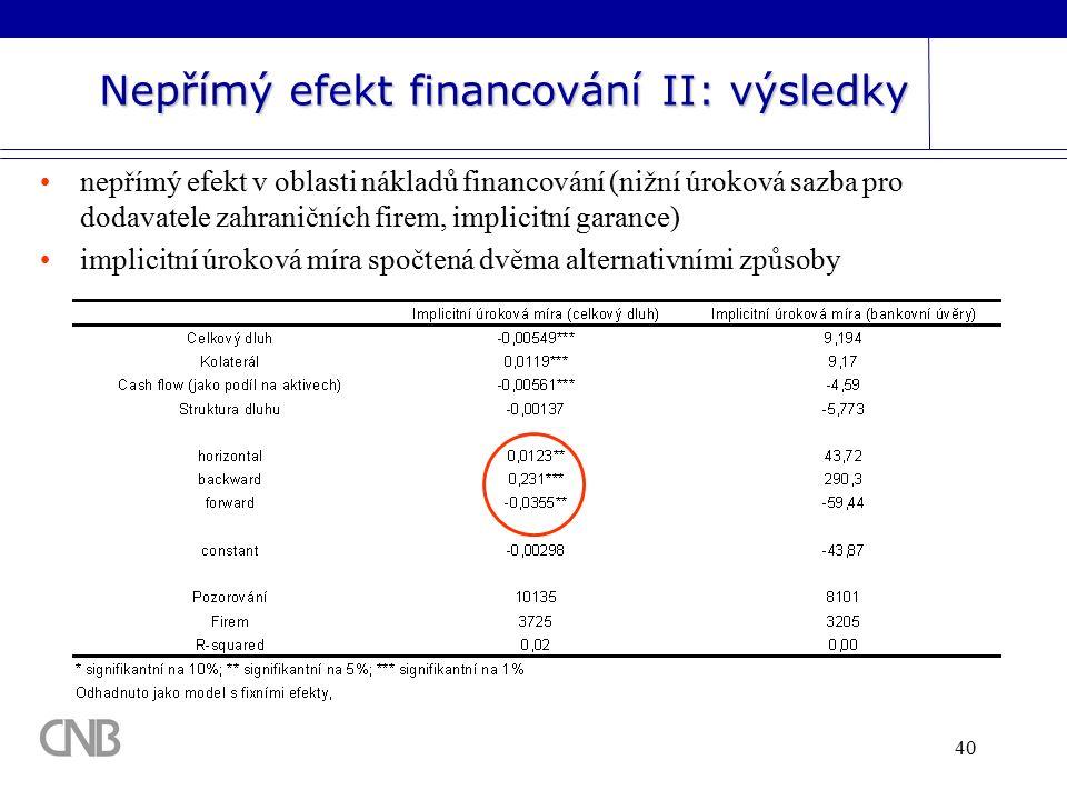40 Nepřímý efekt financování II: výsledky nepřímý efekt v oblasti nákladů financování (nižní úroková sazba pro dodavatele zahraničních firem, implicitní garance) implicitní úroková míra spočtená dvěma alternativními způsoby