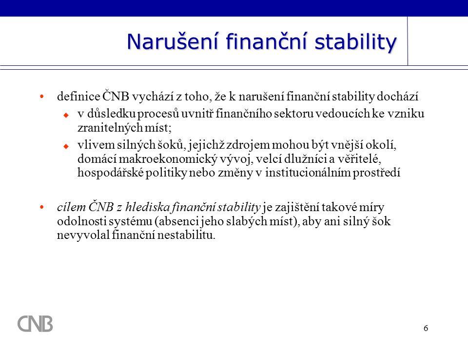 6 Narušení finanční stability definice ČNB vychází z toho, že k narušení finanční stability dochází  v důsledku procesů uvnitř finančního sektoru vedoucích ke vzniku zranitelných míst;  vlivem silných šoků, jejichž zdrojem mohou být vnější okolí, domácí makroekonomický vývoj, velcí dlužníci a věřitelé, hospodářské politiky nebo změny v institucionálním prostředí cílem ČNB z hlediska finanční stability je zajištění takové míry odolnosti systému (absenci jeho slabých míst), aby ani silný šok nevyvolal finanční nestabilitu.