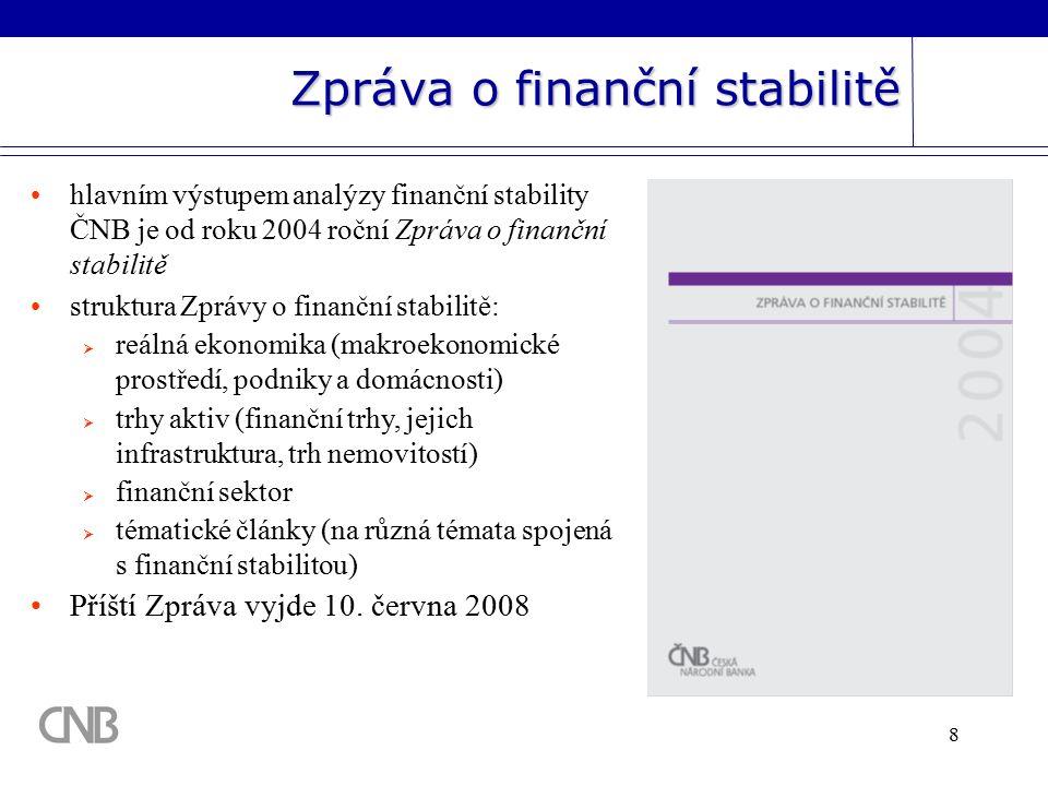 8 Zpráva o finanční stabilitě hlavním výstupem analýzy finanční stability ČNB je od roku 2004 roční Zpráva o finanční stabilitě struktura Zprávy o finanční stabilitě:  reálná ekonomika (makroekonomické prostředí, podniky a domácnosti)  trhy aktiv (finanční trhy, jejich infrastruktura, trh nemovitostí)  finanční sektor  tématické články (na různá témata spojená s finanční stabilitou) Příští Zpráva vyjde 10.