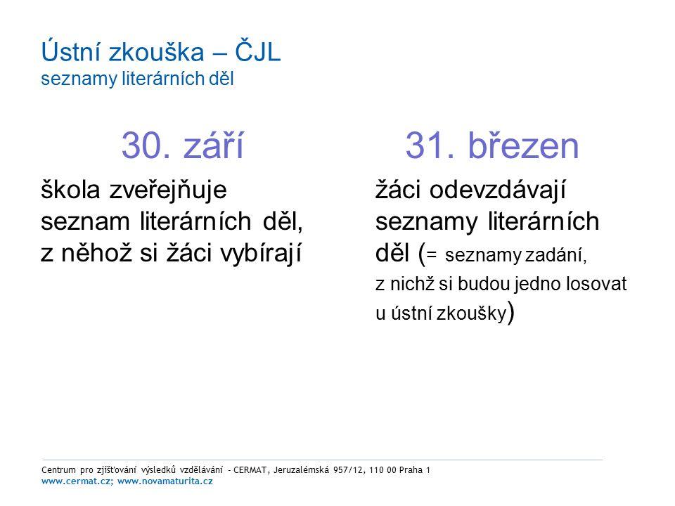 Ústní zkouška – ČJL seznamy literárních děl 30.