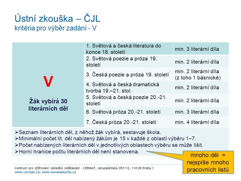 Ústní zkouška – ČJL kritéria pro výběr zadání - V Centrum pro zjišťování výsledků vzdělávání - CERMAT, Jeruzalémská 957/12, 110 00 Praha 1 www.cermat.cz; www.novamaturita.cz V Žák vybírá 30 literárních děl 1.