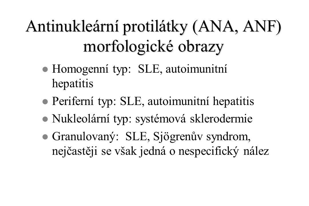 Antinukleární protilátky (ANA, ANF) morfologické obrazy l Homogenní typ: SLE, autoimunitní hepatitis l Periferní typ: SLE, autoimunitní hepatitis l Nukleolární typ: systémová sklerodermie l Granulovaný: SLE, Sjögrenův syndrom, nejčastěji se však jedná o nespecifický nález