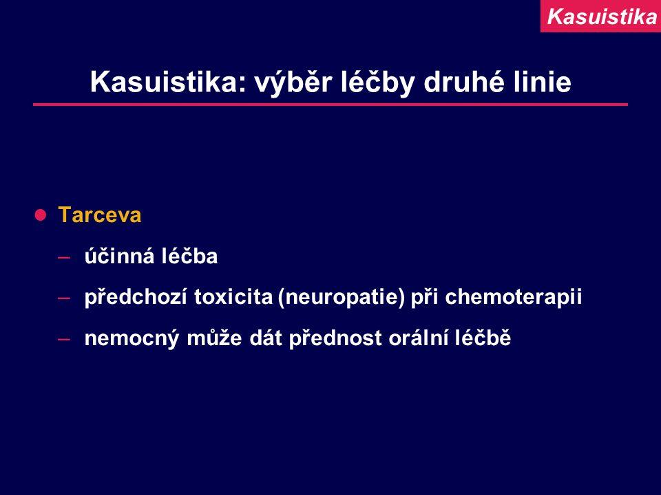 Kasuistika: výběr léčby druhé linie Tarceva –účinná léčba –předchozí toxicita (neuropatie) při chemoterapii –nemocný může dát přednost orální léčbě Ka