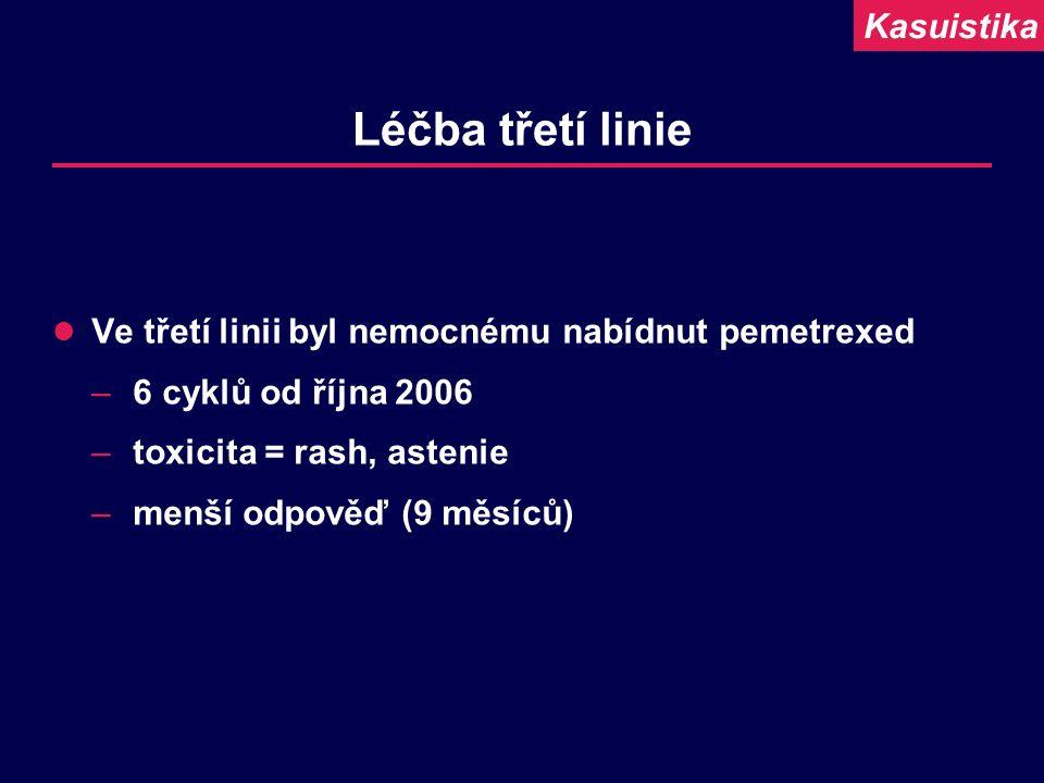 Léčba třetí linie Ve třetí linii byl nemocnému nabídnut pemetrexed –6 cyklů od října 2006 –toxicita = rash, astenie –menší odpověď (9 měsíců) Kasuisti