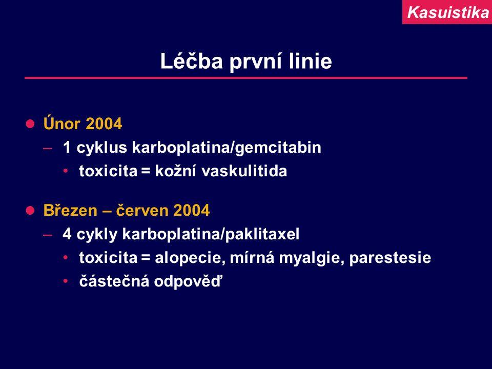 Léčba první linie Únor 2004 –1 cyklus karboplatina/gemcitabin toxicita = kožní vaskulitida Březen – červen 2004 –4 cykly karboplatina/paklitaxel toxic