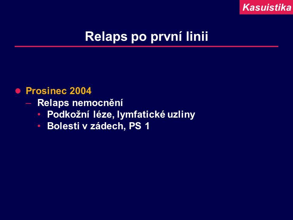 Relaps po první linii Prosinec 2004 –Relaps nemocnění Podkožní léze, lymfatické uzliny Bolesti v zádech, PS 1 Kasuistika