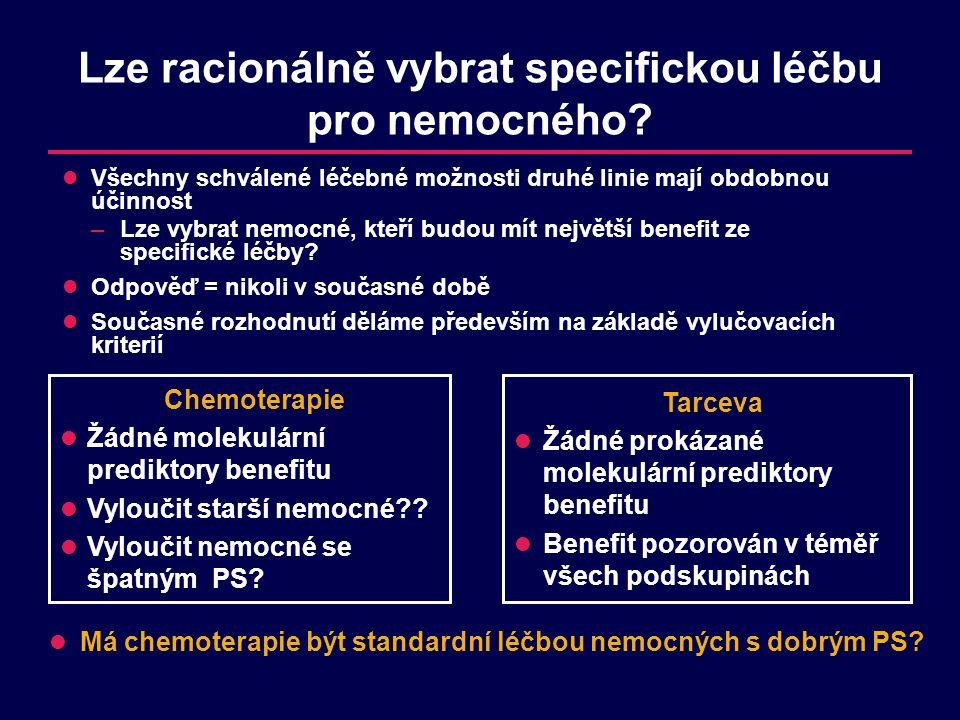 Lze racionálně vybrat specifickou léčbu pro nemocného? Všechny schválené léčebné možnosti druhé linie mají obdobnou účinnost –Lze vybrat nemocné, kteř