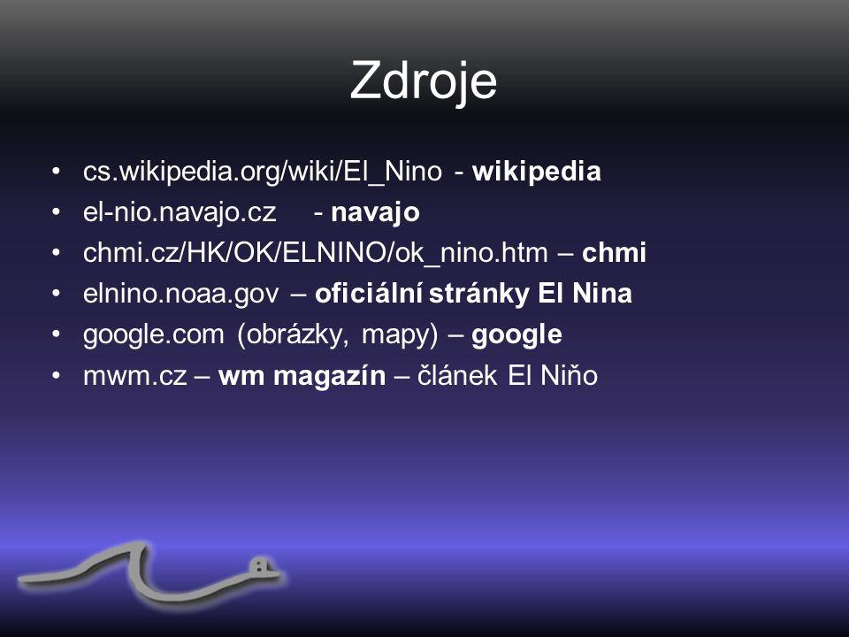Zdroje cs.wikipedia.org/wiki/El_Nino - wikipedia el-nio.navajo.cz - navajo chmi.cz/HK/OK/ELNINO/ok_nino.htm – chmi elnino.noaa.gov – oficiální stránky El Nina google.com (obrázky, mapy) – google mwm.cz – wm magazín – článek El Niňo