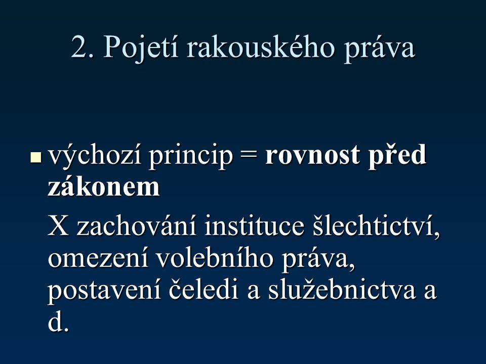 2. Pojetí rakouského práva výchozí princip = rovnost před zákonem výchozí princip = rovnost před zákonem X zachování instituce šlechtictví, omezení vo