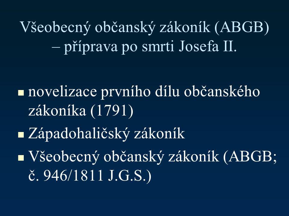 Všeobecný občanský zákoník (ABGB) – příprava po smrti Josefa II.