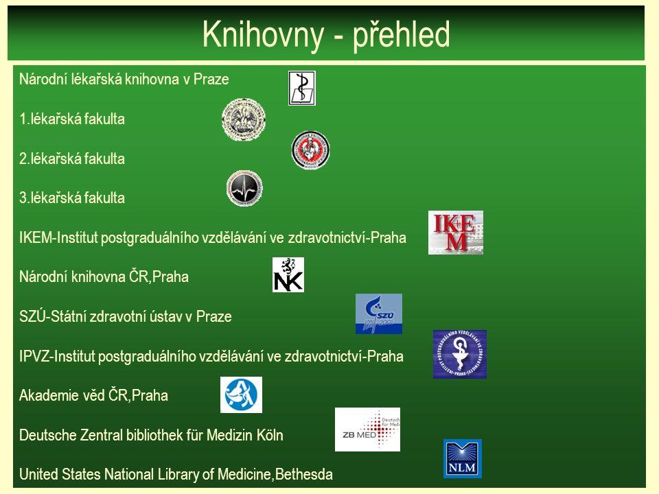 Národní lékařská knihovna v Praze 1.lékařská fakulta 2.lékařská fakulta 3.lékařská fakulta IKEM-Institut postgraduálního vzdělávání ve zdravotnictví-P