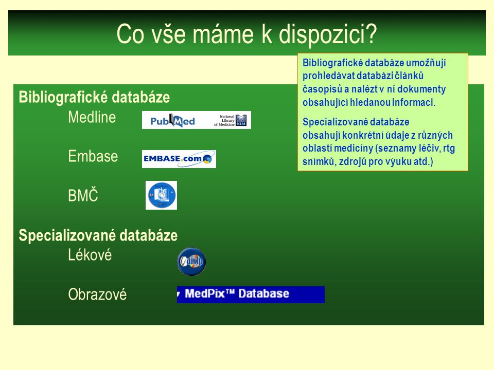 Co vše máme k dispozici? Bibliografické databáze Medline Embase BMČ Specializované databáze Lékové Obrazové Bibliografické databáze umožňují prohledáv
