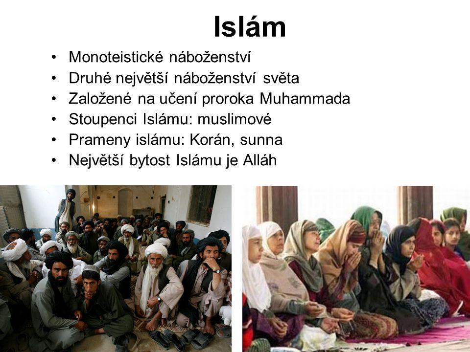 Monoteistické náboženství Druhé největší náboženství světa Založené na učení proroka Muhammada Stoupenci Islámu: muslimové Prameny islámu: Korán, sunna Největší bytost Islámu je Alláh