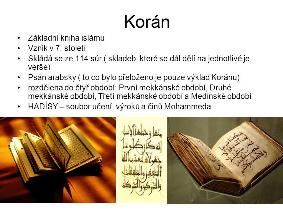 Korán Základní kniha islámu Vznik v 7.