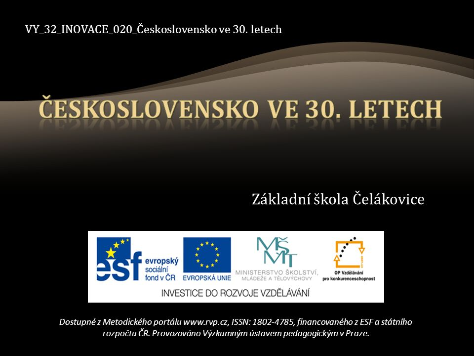VY_32_INOVACE_020_Československo ve 30.